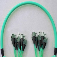 12 Fiber Armored Breakout FC FC OM3 Multimode Patch Cable