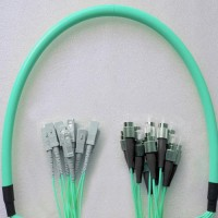 12 Fiber Armored Breakout FC SC OM3 Multimode Patch Cable