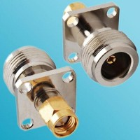 4 Hole Panel Mount N Female to SMA Male RF Adapter