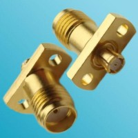 2 Hole Panel Mount SMA Female to SMP Female RF Adapter