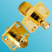 4 Hole Panel Mount SMA Female to SMP Female RF Adapter