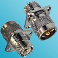 4 Hole Panel Mount UHF SO239 Female to UHF PL259 Male RF Adapter