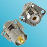 4 Hole Panel Mount UHF SO239 Female to UHF Male Quick Push-on RF Adapter